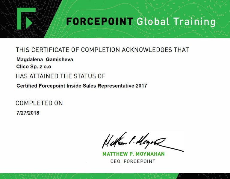 ForcePoint Inside Sales